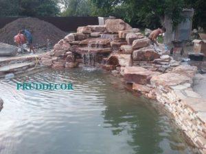 пруд-бассейн и строительство водопада и декоративный пруд в Краснодарском крае