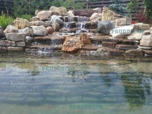 строительство водопада. Фото прудов