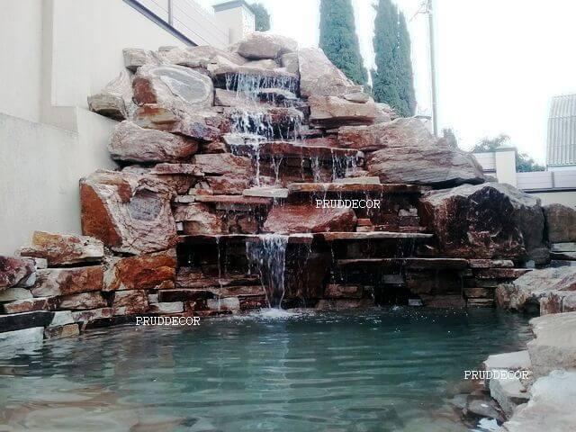 Строительство пруда и водопада в Сочи.Искусственный водопад из природного камня в Сочи